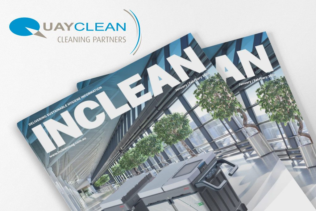 Graphic of INCLEAN magazine January February 2020 issue which contains a feature on Quayclean's success in 2019