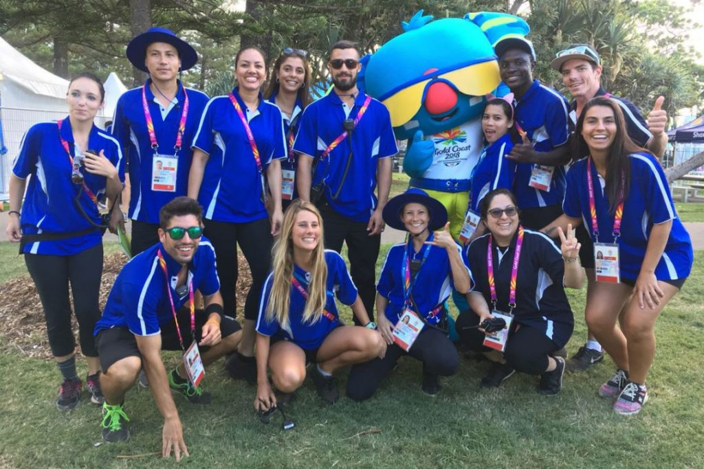 The Quayclean team pose with Borobi at the 2018 Commonwealth Games