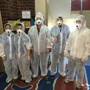 Quayclean team members wearing Personal Protective Equipment Response Kits for decontamination, lead & asbestos Removal
