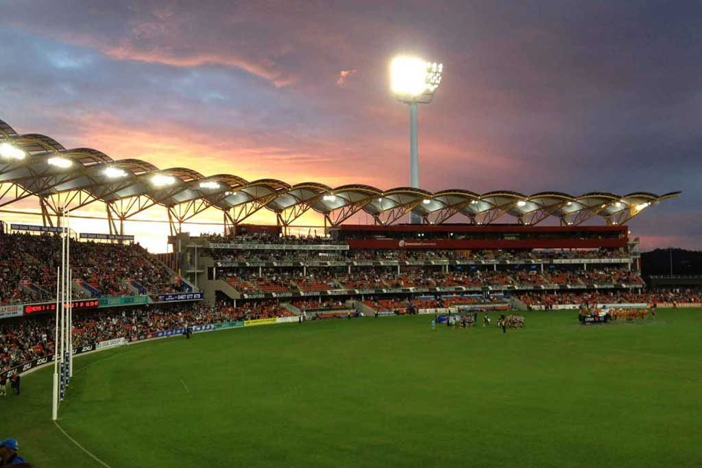 An AFL game at Metricon Stadium in Carrara, Queensland
